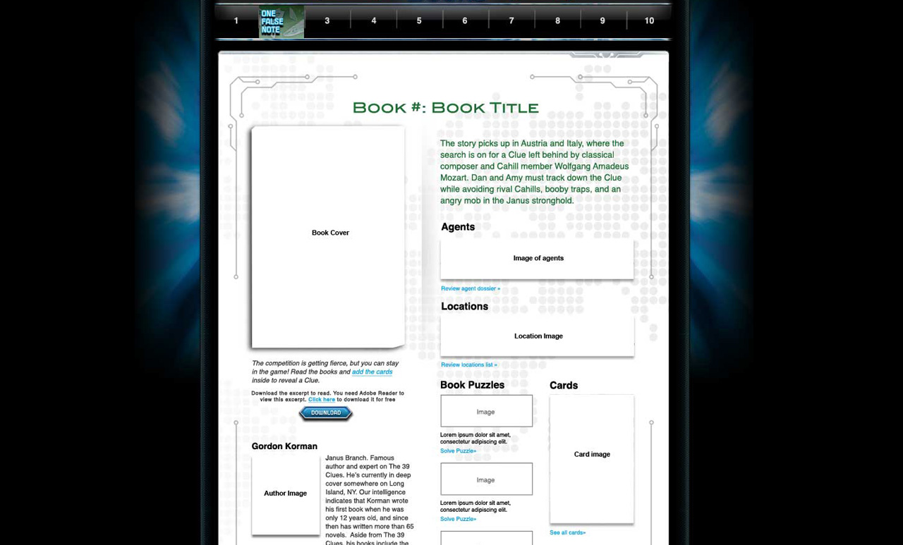 The 39 Clues Book Page wireframe